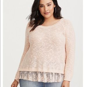 Torrid Peach Lace Back Sweater 00 M/L (878)